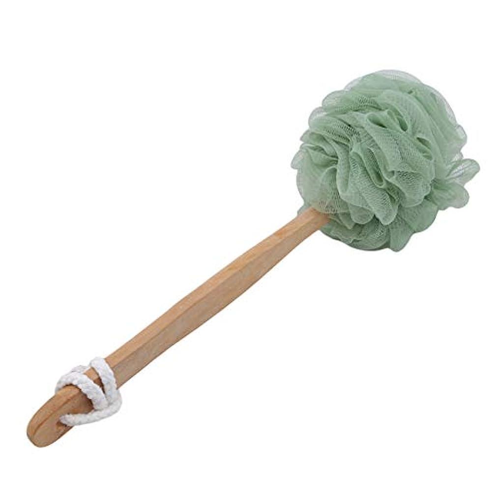 宣言する少数ダッシュZALING 長い木製ハンドルソフトメッシュプーフバスボールボディシャワーブラシスポンジバックスクラバー, 緑