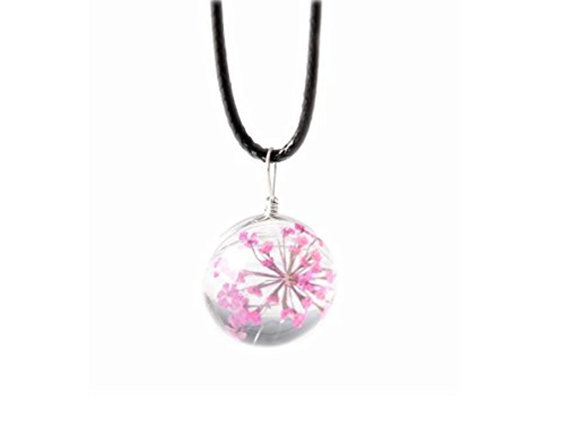 加害者誇張普遍的な4本のペンダントネックレスギフトのセットGypsophila乾いた花のネックレス - ピンク