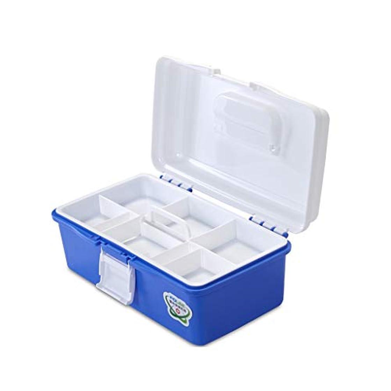 従者魂癒すYYFRB プラスチック製の薬箱、青い家庭薬収納箱、救急医療箱 医学パッケージ