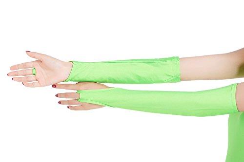 ツルツルニット 指ぬき ロンググローブ レディース, 薄緑