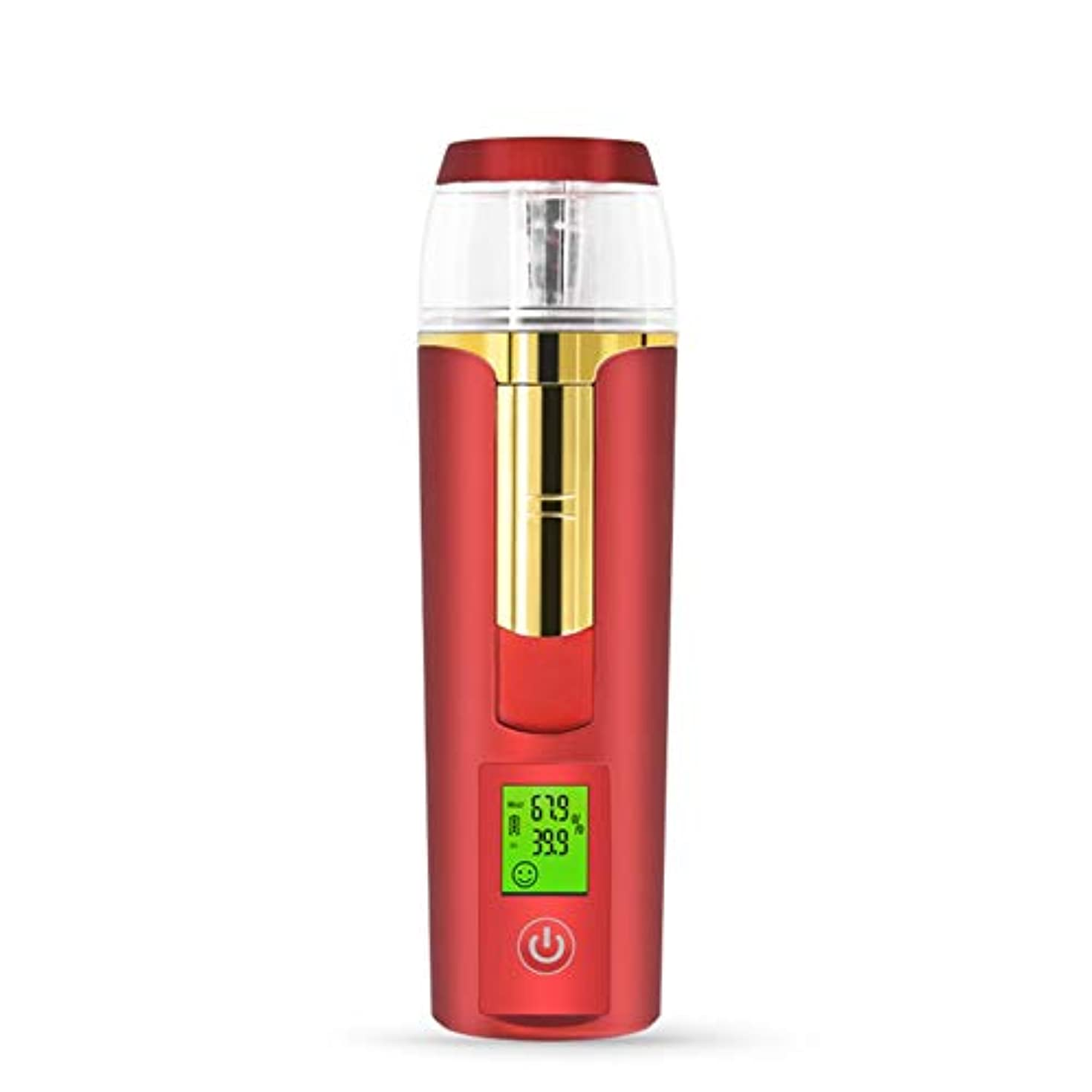 不純組み込む情熱美容スチーマー 携帯 マイナスイオン 肌水分量測定 コールドスプレー 旅行 オフィス 車の使用 30ml USB充電式 モバイルパワー (Color : ARed)