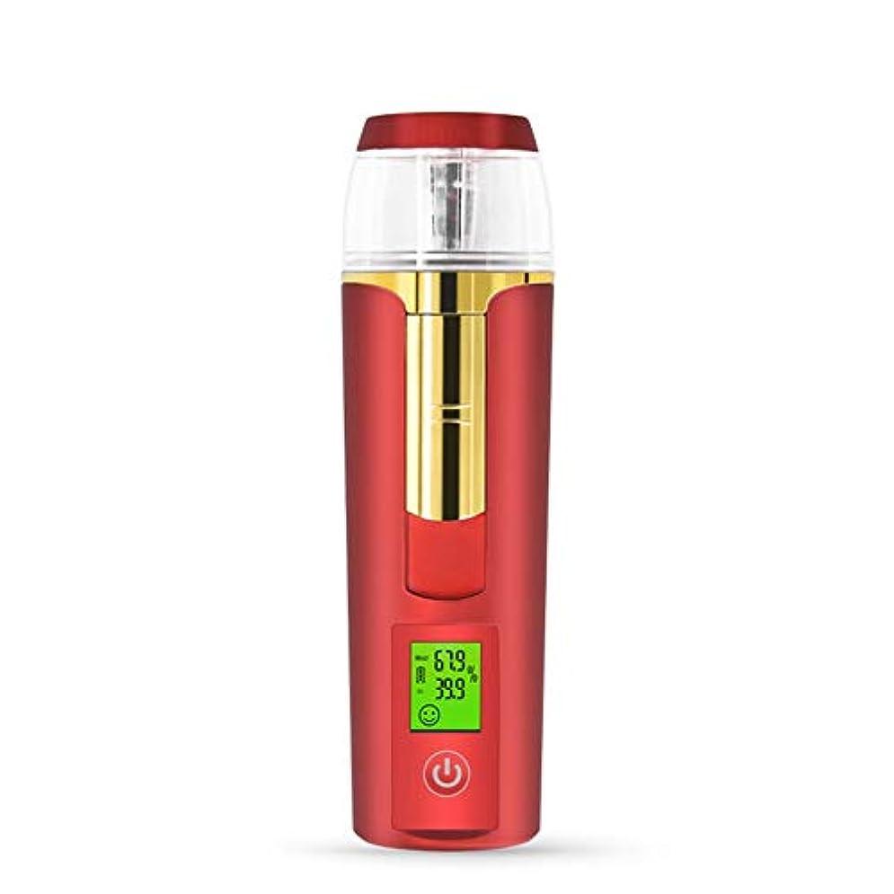 ストリップ規模居住者美容スチーマー 携帯 マイナスイオン 肌水分量測定 コールドスプレー 旅行 オフィス 車の使用 30ml USB充電式 モバイルパワー (Color : ARed)