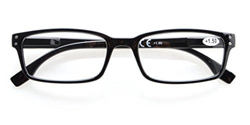 アイキーパー(Eyekepper)読書用 クラシック スクエア型 角型 バネ蝶番 上質 メンズ レディース リーディンググラス シニアグラス 老眼鏡 ケース&クロス付 (+0.50, ブラック)