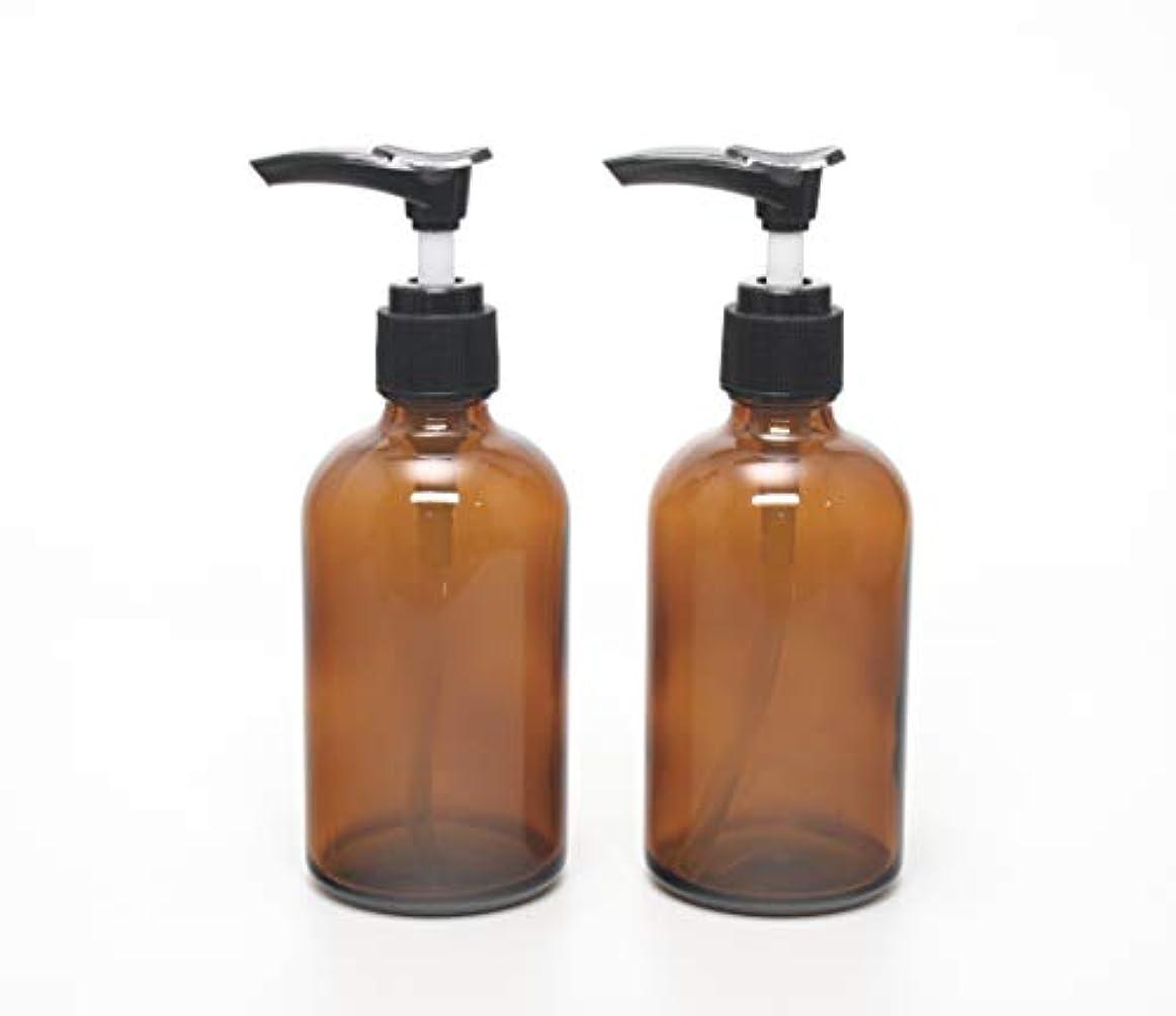 ロッド服連想遮光瓶 ポンプボトル (硝子) 100ml / アンバー ? ブラックポンプヘッド (2本セット)