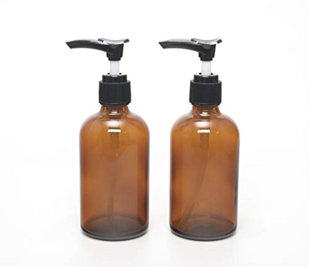 高く主観的適格遮光瓶 ポンプボトル (硝子) 100ml / アンバー ? ブラックポンプヘッド (2本セット)