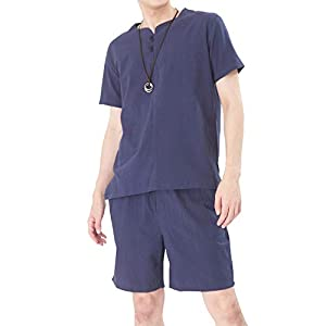 Vxiss メンズ 綿麻 tシャツ かぶり 半袖 上下 無地 セット 部屋着 和風セット 紳士パジャマ トップス ルームウエア 夏服 大きいサイズ (ネイビー, M)