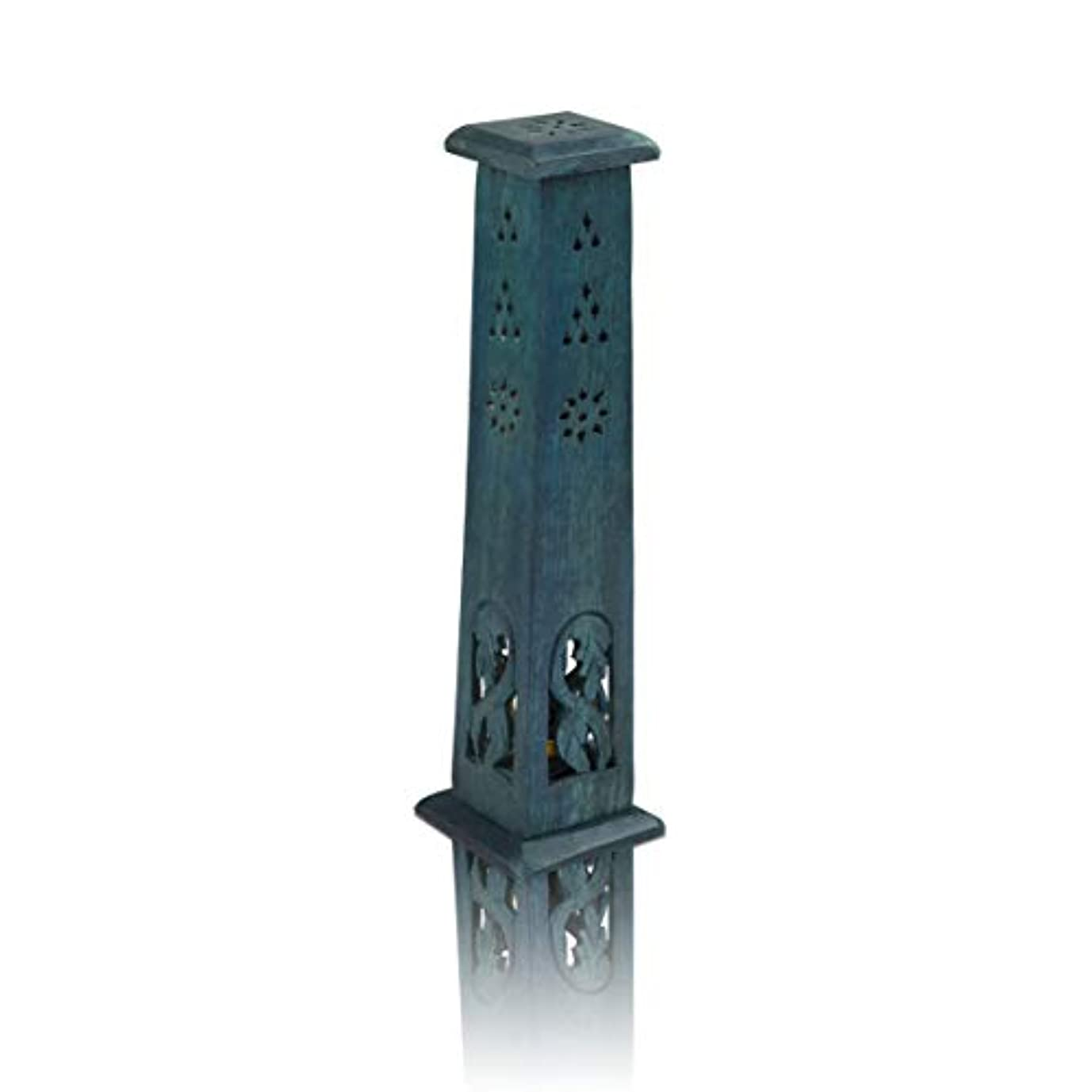 勘違いするはっきりと定期的木製お香スティック&コーンバーナーホルダー タワー ラージ オーガニック エコフレンドリー アッシュキャッチャー アガーバティホルダー 素朴なスタイル 手彫り 瞑想 ヨガ アロマセラピー ホームフレグランス製品