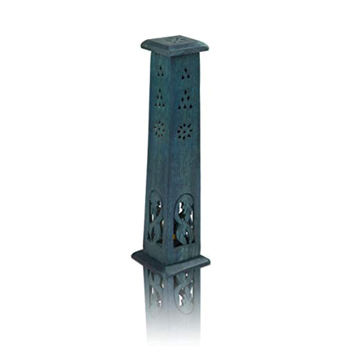 木製お香スティック&コーンバーナーホルダー タワー ラージ オーガニック エコフレンドリー アッシュキャッチャー アガーバティホルダー 素朴なスタイル 手彫り 瞑想 ヨガ アロマセラピー ホームフレグランス製品