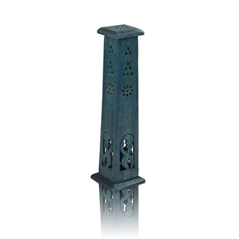 操作農場見て木製お香スティック&コーンバーナーホルダー タワー ラージ オーガニック エコフレンドリー アッシュキャッチャー アガーバティホルダー 素朴なスタイル 手彫り 瞑想 ヨガ アロマセラピー ホームフレグランス製品
