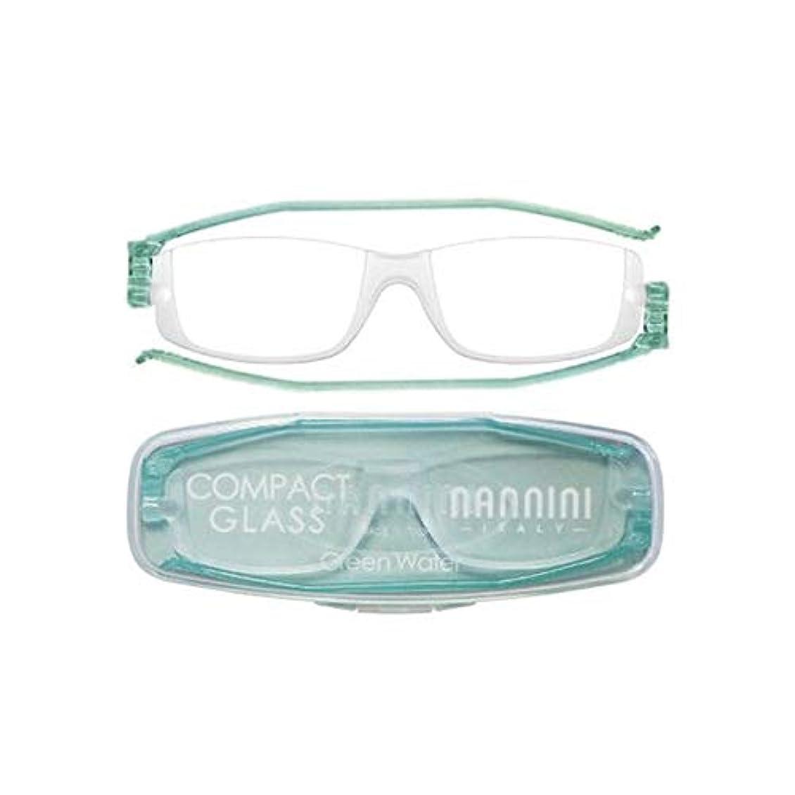 発音する改善ペチコート老眼鏡 コンパクトグラス2 nannini リーディンググラス 男性用 女性用 メンズ レディース シニアグラス 全12色(+1.00,グリーンウォーター)