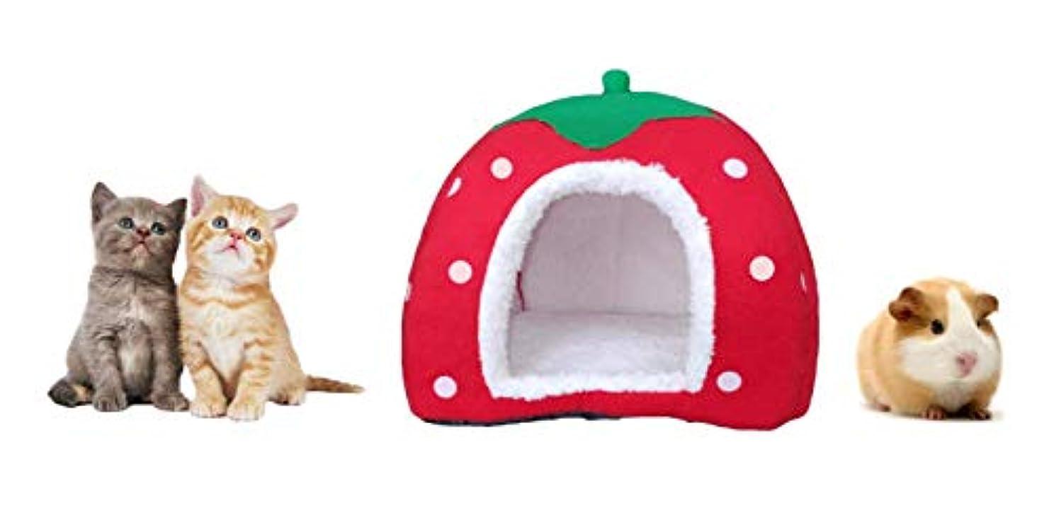 加速度シンポジウム鉛KINGMAS Cute Soft Sponge Strawberry Pet Cat Dog House Bed Warm Cushion Basket Size:S by akezone
