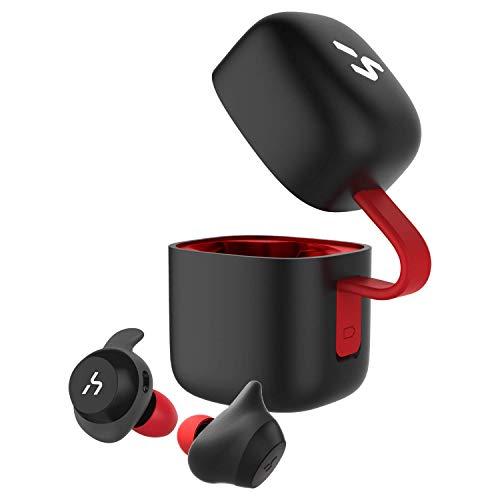 HAVIT Bluetooth イヤホン 完全ワイヤレスイヤホン「Bluetooth 5.0 」TWSイヤホンスポーツイヤホン PSE認証済/技適認証済/MSDS認証済取得済み AAC対応/Siri対応/IPX5防水規格/18時間連続再生/高音質チタンドライバー搭載 片耳両耳とも対応 自動ペアリング自動ON/OFF スポーツ、日常用 充電収納ケース付 左右分離型 マイク内蔵 G1黒+赤
