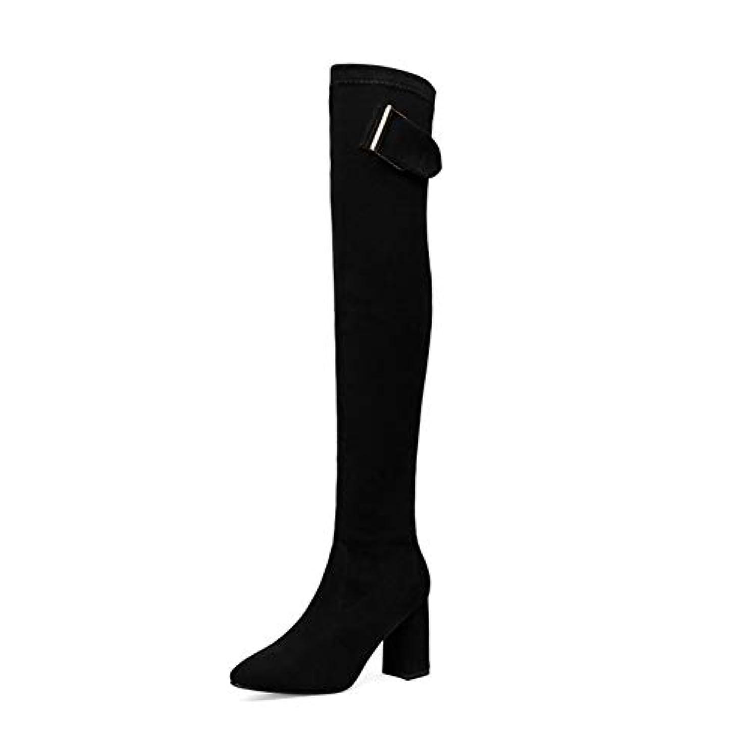 記憶安西結論女性のファッションブーツ、スリムブーツ膝の上でセクシーなスエード女性のスノーブーツレディース冬の太ももハイブーツシューズ (色 : ブラック, サイズ : 38)