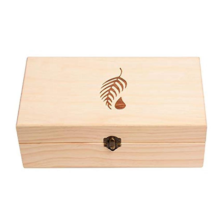 触覚窒息させる洞察力アロマセラピー収納ボックス 主催耐久性のある場合、完全な25のスロット木箱エッセンシャルオイル エッセンシャルオイル収納ボックス (色 : Natural, サイズ : 27.5X15X10CM)