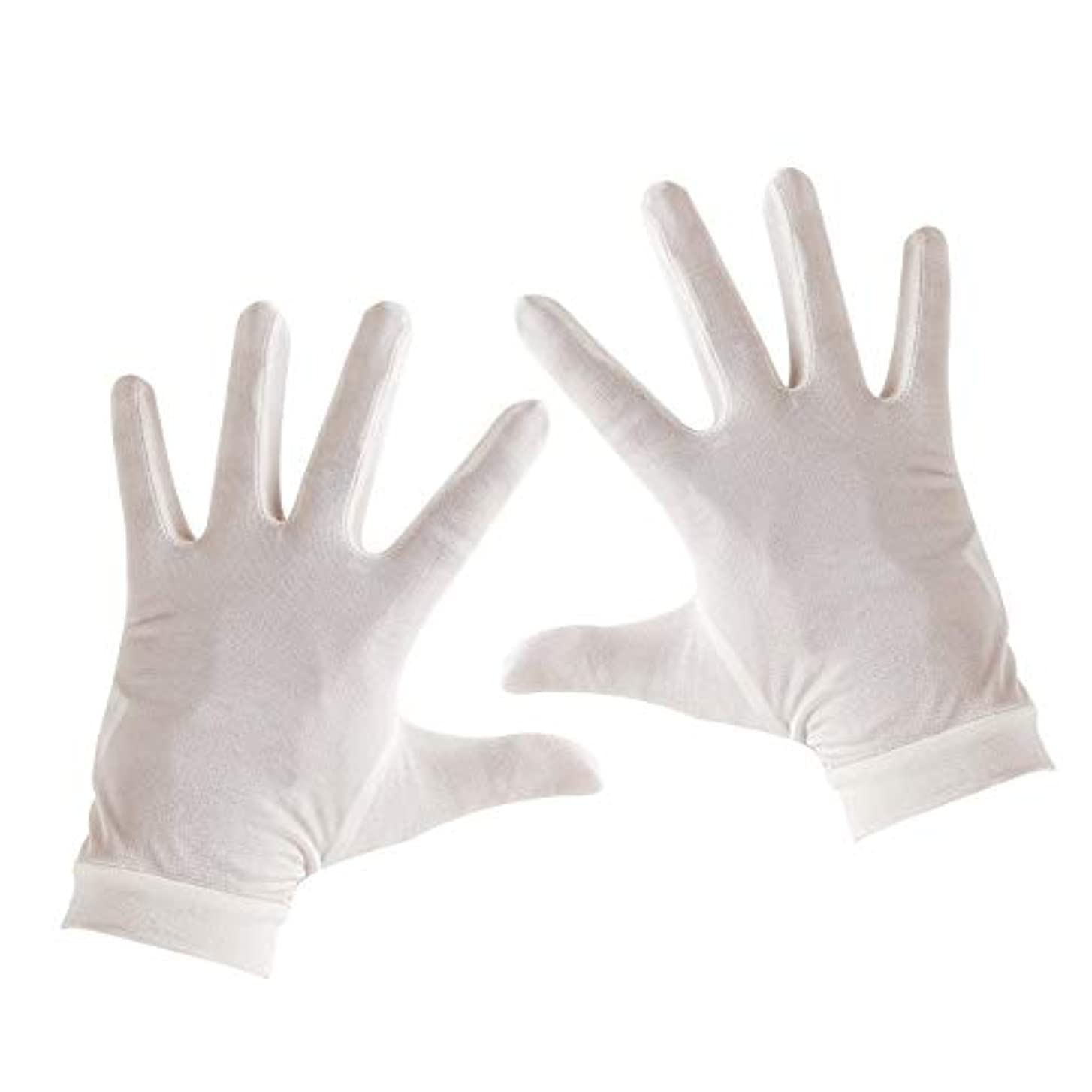 与える不正シーフードTenn Well シルク手袋, 天然絹100% 手荒れ対策 保湿ケア UVカット おやすみ手袋 (白い)