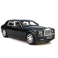 Model car,Greshare 1:24 Rolls-Royce Phantom Diecast Sound & Light & Pull Back Model Toy Car Wine Red New in Box (black)