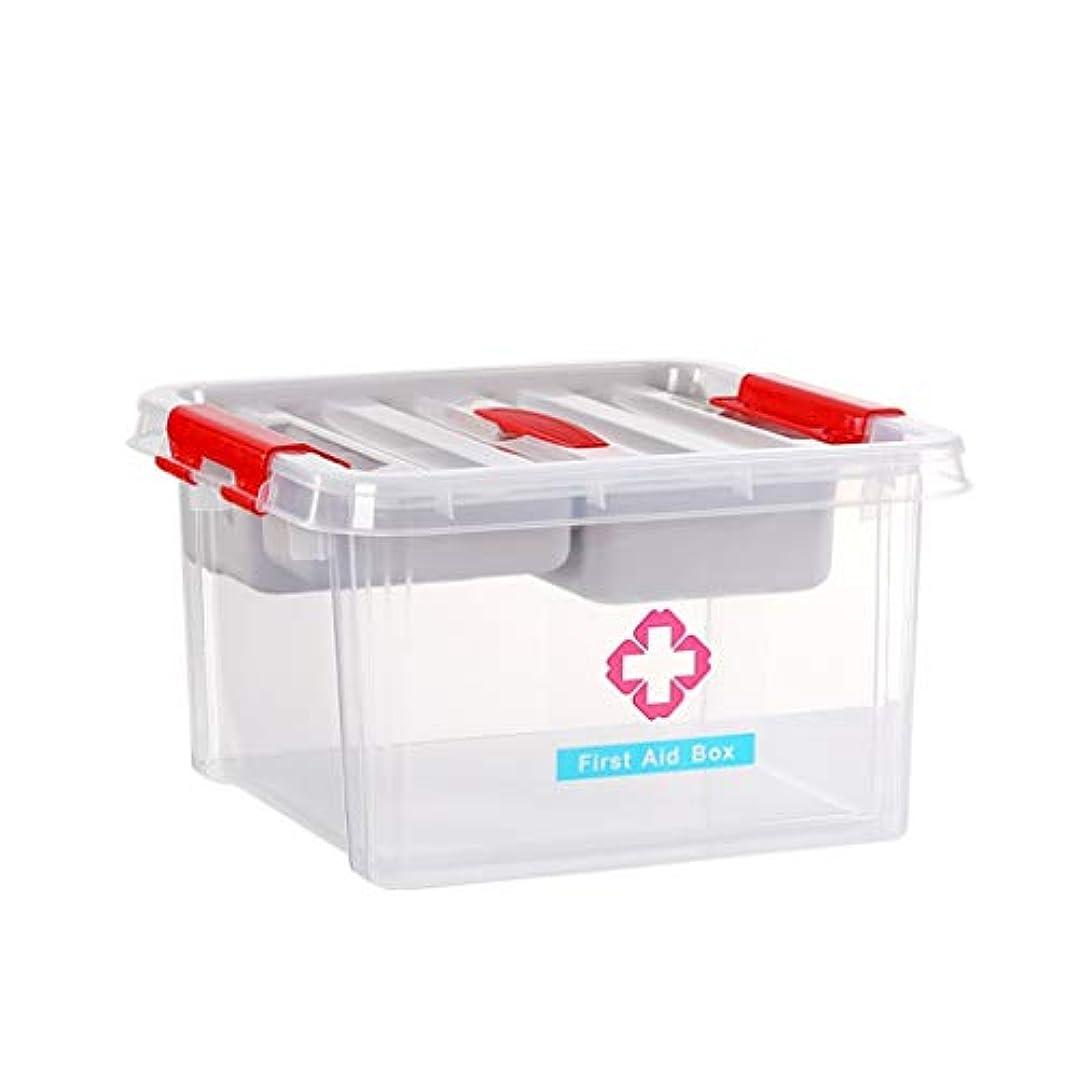 家の使用救急箱薬収納ボックス二層デザイン外出用にオプションの3色 SYFO (Color : Clear)