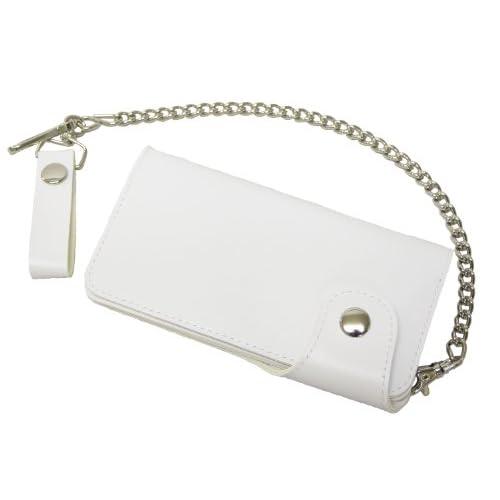 (エクサス)EXAS ワンホックノーマル無地チェーン付きロングウォレット(長財布) ホワイト