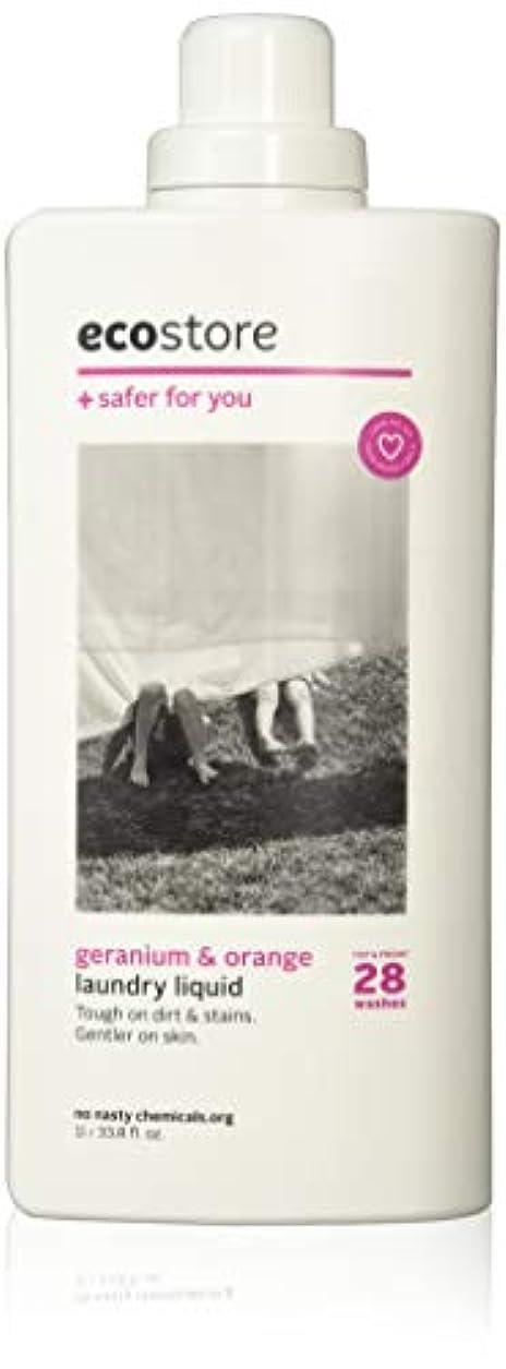 ヘアカウント適合するecostore(エコストア) ランドリーリキッド 【ゼラニウム&オレンジ】 1L 洗濯用 液体 洗剤