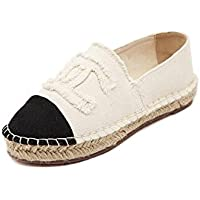 BY0NE Women's Fashion Casual Loafer Slip-On Espadrille Canvas Boat Flat Shoes