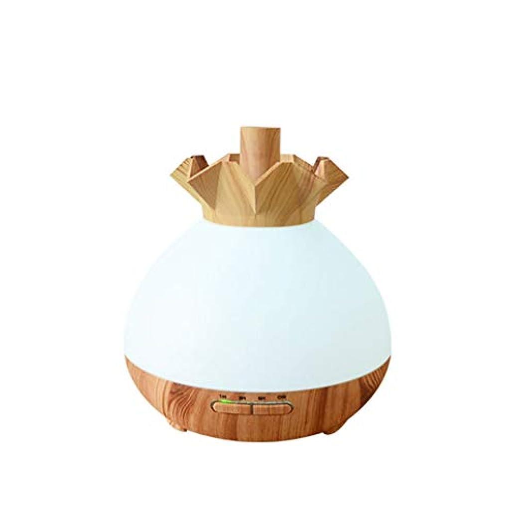 休暇工夫するくつろぐWifiアプリコントロール 涼しい霧 加湿器,7 色 木目 空気を浄化 加湿機 プレミアム サイレント 精油 ディフューザー アロマネブライザー ベッド- 400ml