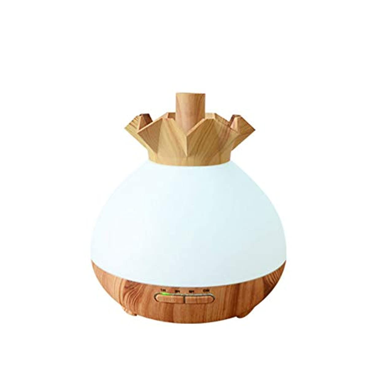 付添人ブロックする毒液Wifiアプリコントロール 涼しい霧 加湿器,7 色 木目 空気を浄化 加湿機 プレミアム サイレント 精油 ディフューザー アロマネブライザー ベッド- 400ml