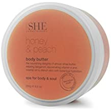 OM SHE Aromatherapy Moisturizing Body Butter Honey & Peach (250g), Vegan Friendly - Cruelty Free - No Harsh Chemicals