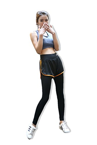 一体型 プレミアム 速乾 伸縮 パンツ ジム フィットネス ヨガパンツ レディース 5カラー (L, オレンジ)