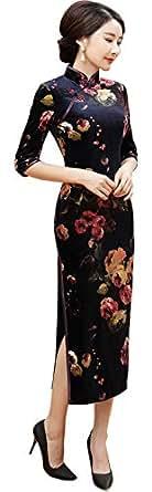CBCPOWER チャイナドレス ロング 中袖 優雅なチャイナ服 上品 ワンピース ベルベット オールシーズン 花柄 (ローズ柄, S)