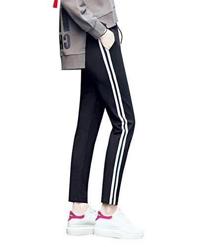 CHRLEISURE レディース サイドラインパンツ スポーツ ジャージ 下 カジュアル ライン ジョガー パンツ 裾リブ