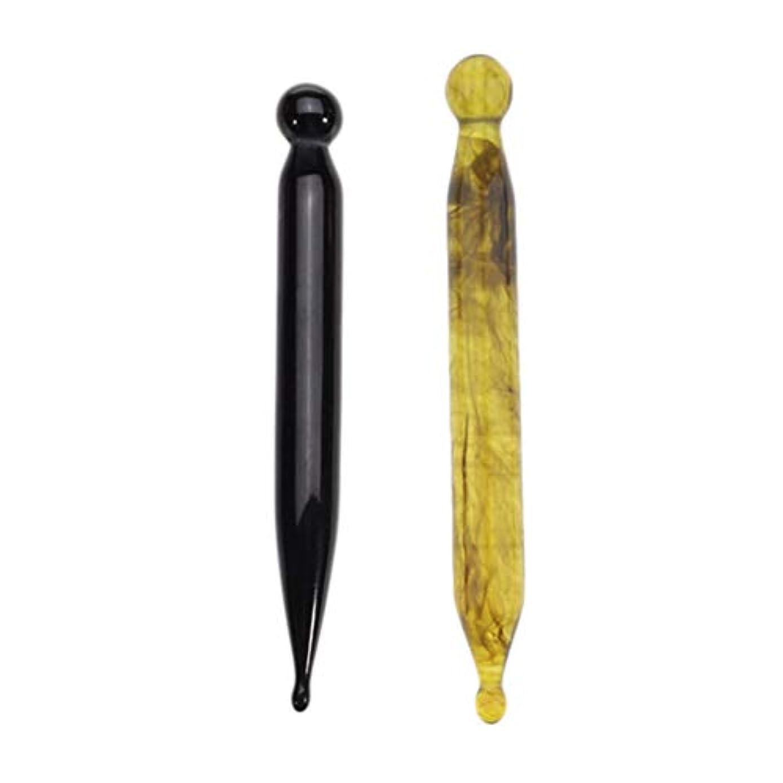 受動的扱いやすい枯渇dailymall 2本の伝統的なリフレクソロジーハンド&フットマッサージツール、樹脂ツボストーンスティック、グアシャスクレイピングマッサージャートリガーポイントマッサージ
