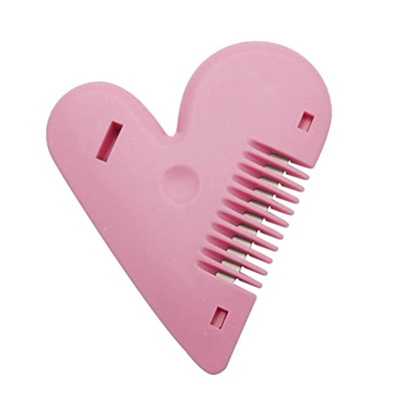 不調和病者カカドゥLurrose 両面間伐櫛ハート型ヘアカットハサミプラスチックトリマーカミソリ髪用(ピンク)