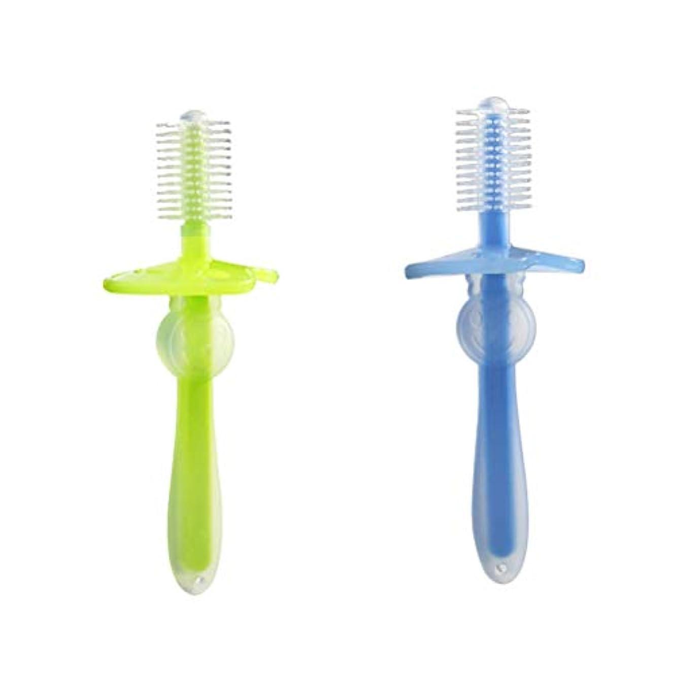 香ばしい談話スカルクHealifty 歯ブラシ シリコン 360°ベビー歯ブラシ 幼児 柔軟なトレーニング歯ブラシ 2ピース(緑と青)