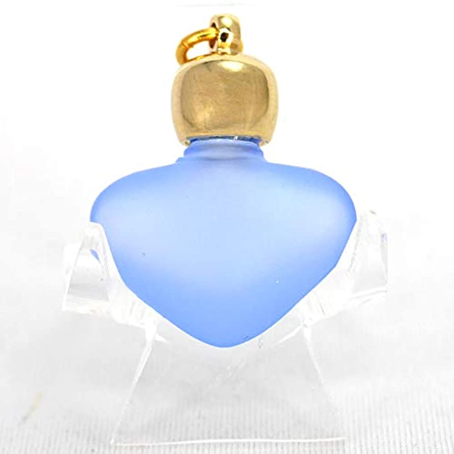 ミニ香水瓶 アロマペンダントトップ ハートブルーフロスト(青すりガラス)0.8ml?ゴールド?穴あきキャップ、パッキン付属【アロマオイル?メモリーオイル入れにオススメ】