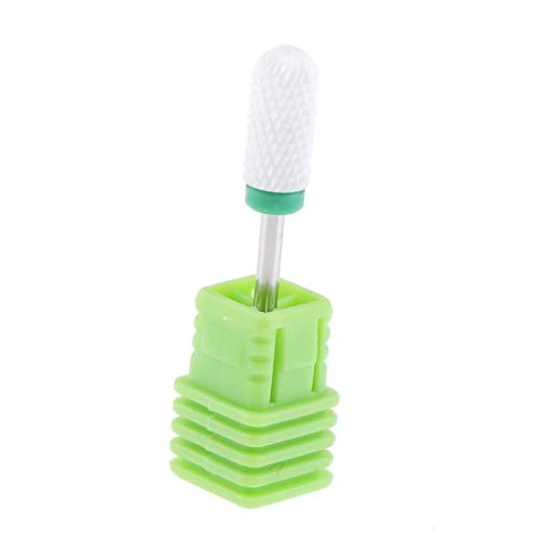デュアルスカート甘いネイルドリルビット ネイル研削 ネイルアート道具 爪磨き ネイルファイル 4サイズ選べ - 緑粗いリッジ