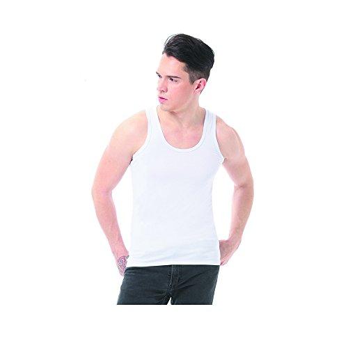 タンクトップ 夏 スポーツ フィットネス ノースリーブ 無地 綿 スリムフィット Uネック メンズ 吸汗速乾 2本セット (2XL, ホワイト)