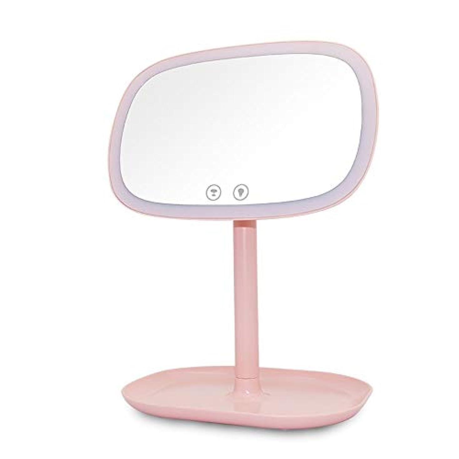考える美人すり減る充電式 化粧鏡 10倍拡大鏡充電式タッチコントロール360度スイベルデスクトップバニティミラーLED表ナイトライトカウンター照明付き化粧化粧鏡 寒暖色調節可能 化粧鏡 (色 : ピンク, サイズ : ワンサイズ)