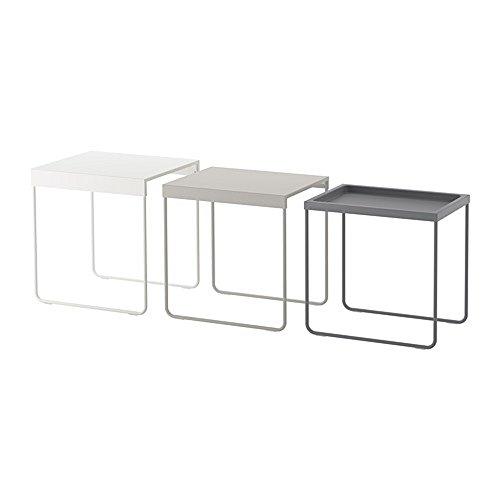 IKEA/イケア GRANBODA:ネストテーブル3点セット ホワイト/ライトグレー/グレー (703.866.83)