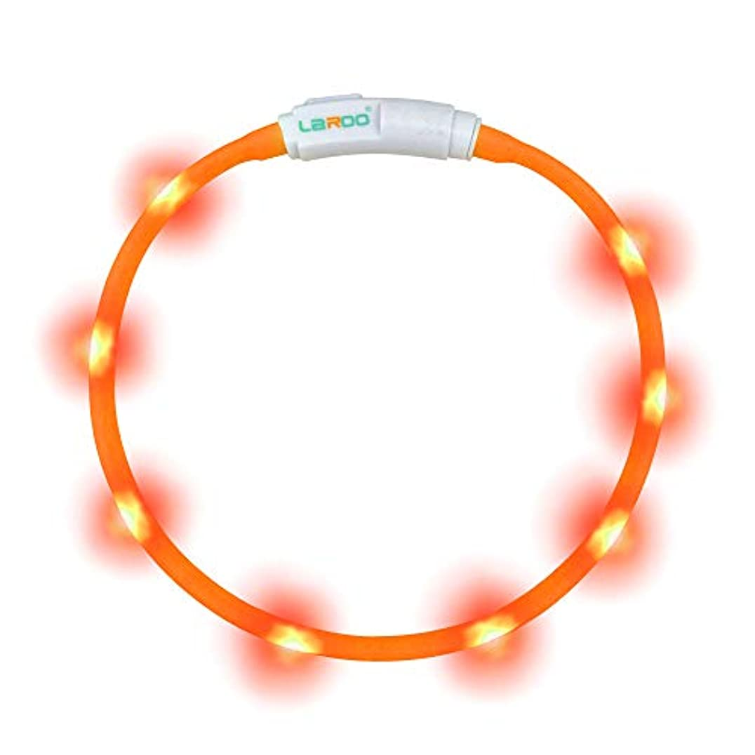 中世の民間人適度なLaRoo-LED光る首輪 犬猫用長さ可調節-軽量USB充電式夜道の安全 発光首輪 -3モード発光 お散歩安全対策 視認性抜群(45cmオレンジ色)