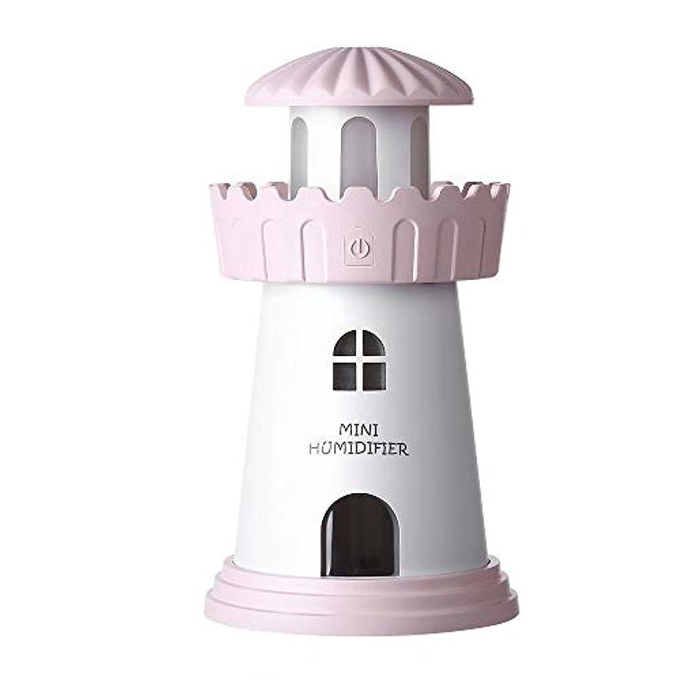 変化するアクチュエータグリルポータブル灯台の形エア加湿器150ミリリットルエッセンシャルオイルディフューザーの静かなクールミスト噴霧器のために車のホームオフィスヨガベッドルーム ファミリーカーやオフィスへの思いやりのある贈り物です (Color : Pink, Size : 8×14.3)