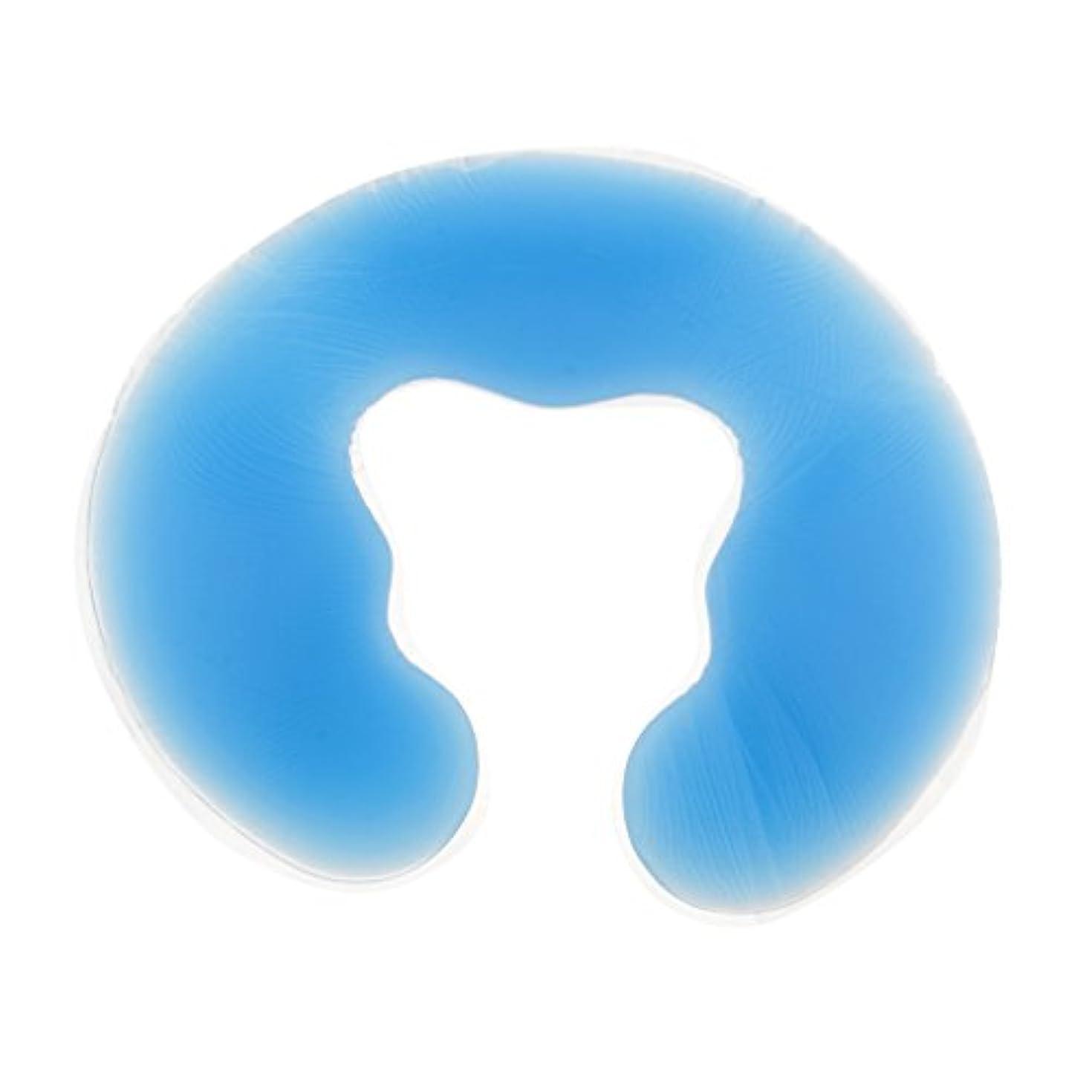 P Prettyia フェイスピロー ピロー 枕 シリコン マッサージ枕 ヘッドクレードルクッション 2色選べる - 青