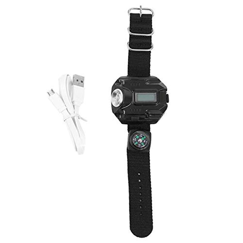 輝く階下共産主義懐中電灯リストライトウォッチ リストライト 調整可能なリストバンド 腕時計 USB充電式ウォッチ バッテリー600mAh アウトドア 防災 避難 コンパス付き