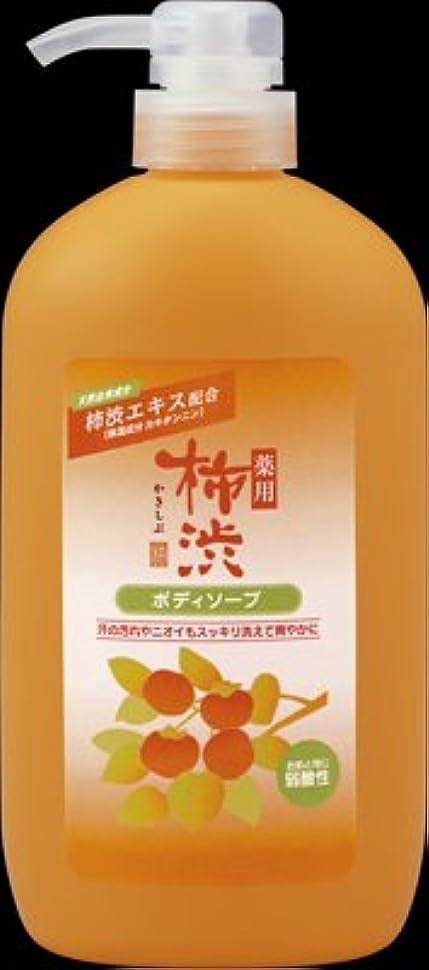 潮近傍気分が良い熊野油脂 薬用柿渋ボディソープ ボトル 600ML 本体 弱酸性  ニオイのもとを殺菌?消毒。体臭、汗臭を防ぐボディ用石けん×16点セット (4513574018884)