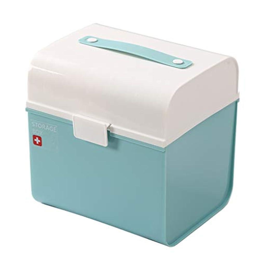 救急箱薬箱世帯大応急処置キット薬収納ボックスポータブル医療ボックス24 * 19.5 * 25 cm ZHAOSHUNLI (Color : Blue)