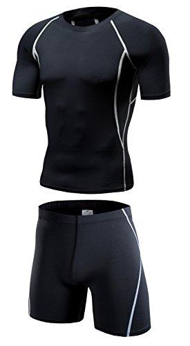 LeoSport スポーツウェア男バスケットジョギング訓練服弾力圧縮速乾服運動レギンススーツセット=短袖+短ズボン (M, ブラック+グレー)