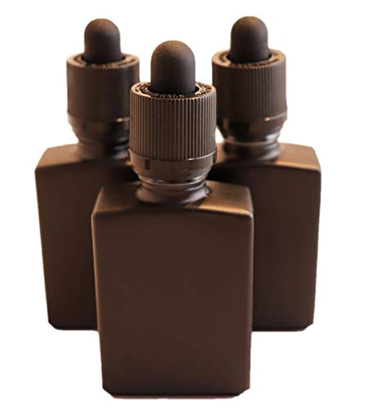 どこにでも些細最初は4 Queens ガラス製スポイト遮光瓶【チャイルドロック付き】30ml 3本セット アロマ 香水 リキッド保存用 詰め替え用 マットブラック