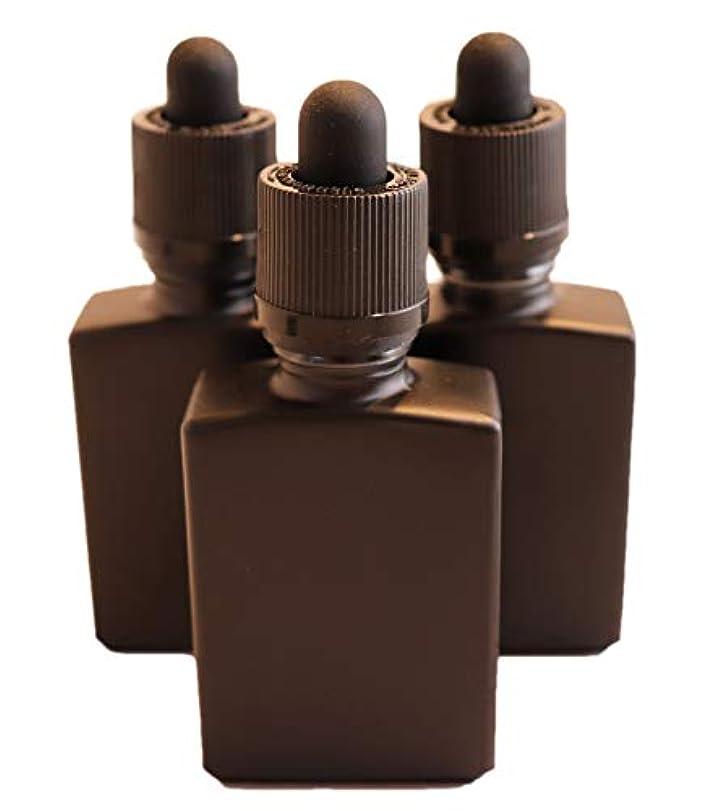 に関してどれ打たれたトラック4 Queens ガラス製スポイト遮光瓶【チャイルドロック付き】30ml 3本セット アロマ 香水 リキッド保存用 詰め替え用 マットブラック