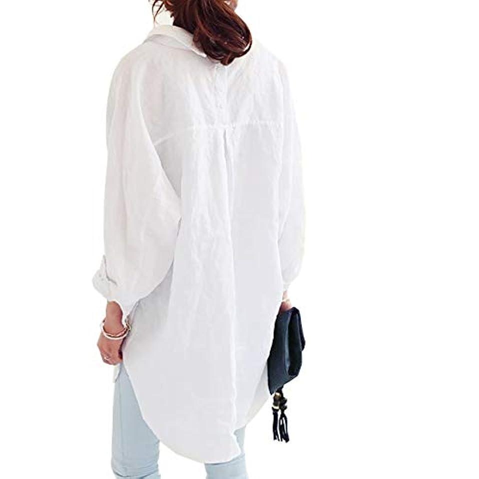 [ココチエ] シャツ ワンピ レディース ブラウス 長袖 ロング 水色 白 大きいサイズ おおきいサイズ おしゃれ ゆったり 体型カバー 前開き
