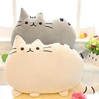フワフワ 柔らか かわいい ネコ クッション 抱き枕 オフィス用にも (グレー)
