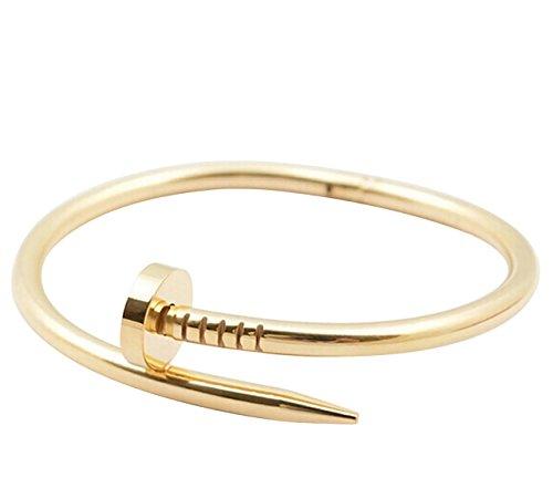 [해외]니오 패션 고급 스테인레스 소재 심플 하나 못 못 뱅글 팔찌 골드 골드 핑크/Nio fashion luxury stainless steel material simple one nail nail bangle bracelet gold gold pink